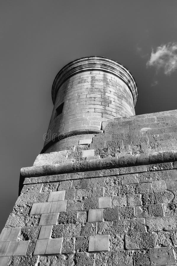 Download black and white image of historic tower of the valletta defense fortifications and valletta citadel