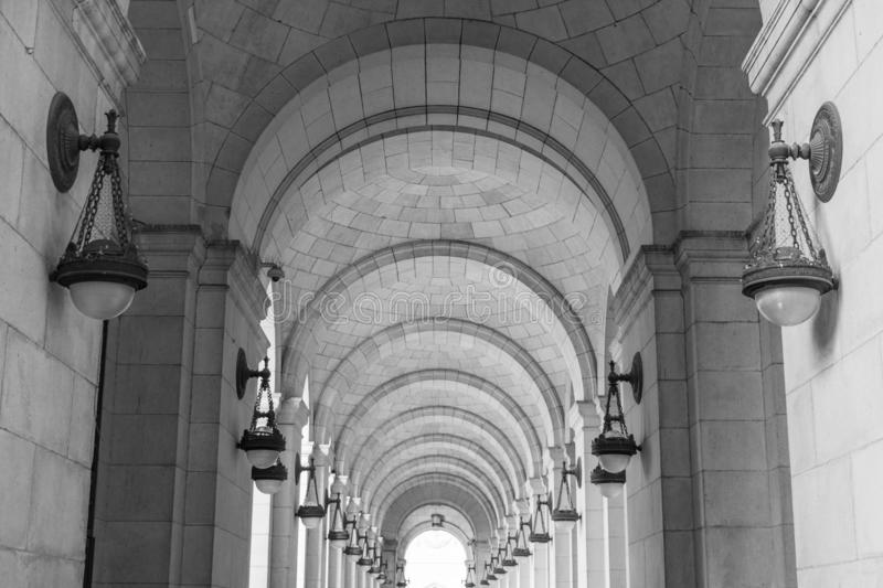 Black and White image of Arches along the Grand Concourse Outside Union Station in Washington D.C. royalty free stock photography