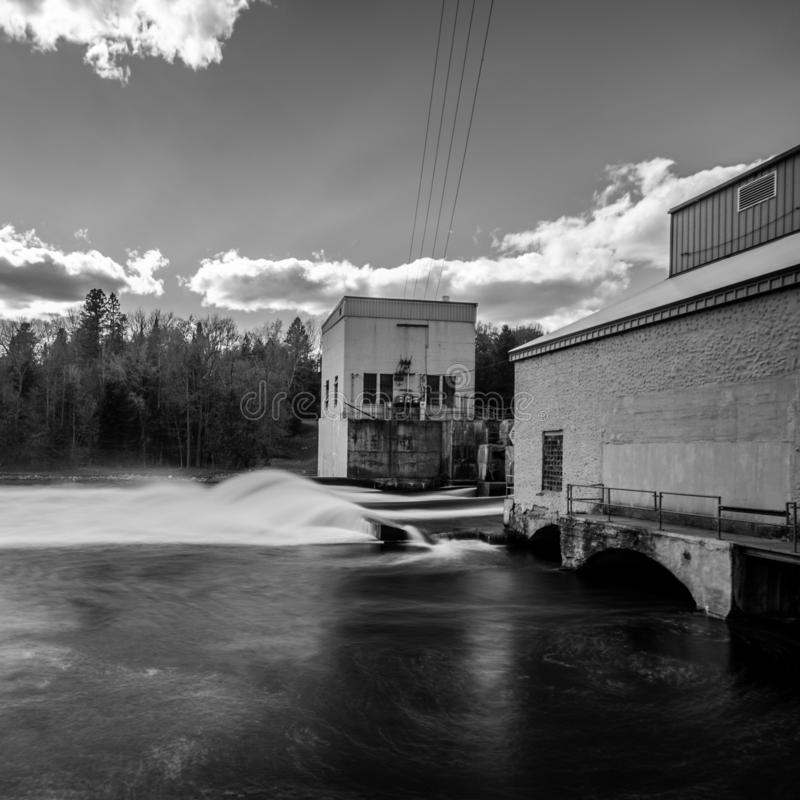 Black and white of Hat Rapids Dam, Wisconsin stock photos