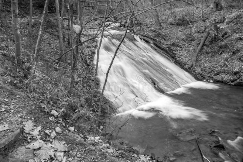 Black and white image of the Lower Falls on Roaring Run Creek royalty free stock image