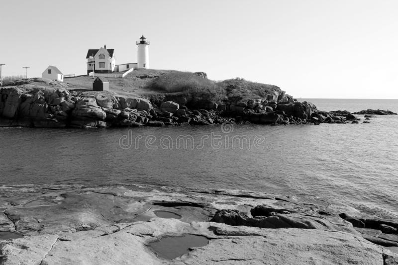 Black and white image of Maine`s beloved Nubble Lighthouse, York Maine, 2018. Beautiful image in one of Maine`s 60 lighthouses, this one much visited and loved royalty free stock image