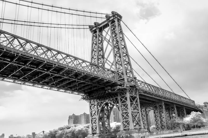 Black and White Image of Manhattan Skyline and Manhattan Bridge. Manhattan Bridge is a suspension bridge that crosses the East Riv. Er in New York City royalty free stock photos