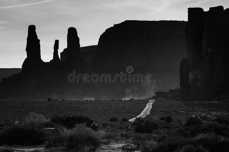 Black and white image from Monument Valley, Arizona, USA royalty free stock images