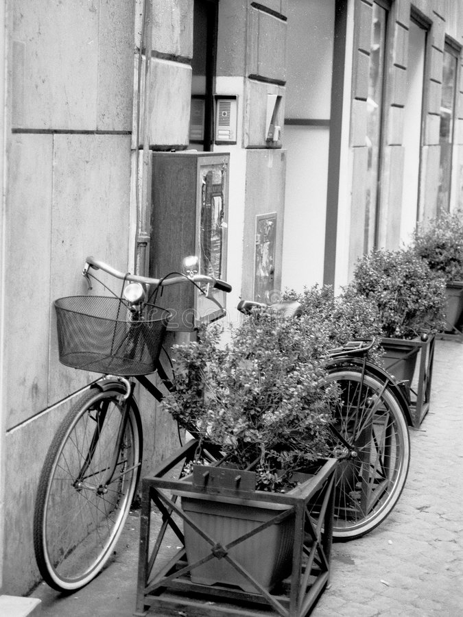 Black and White image of an old Bicycle with a basket in Rome. An image of a bycycle, taken in Rome 2003 stock photo