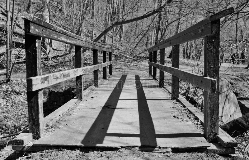 Black and White Image of Old Bridge royalty free stock images