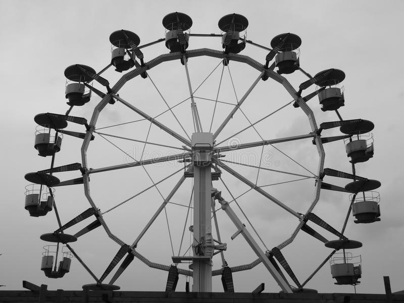 Mary go round. Black and white image with old mary go round in Bucharest, Romania stock photo