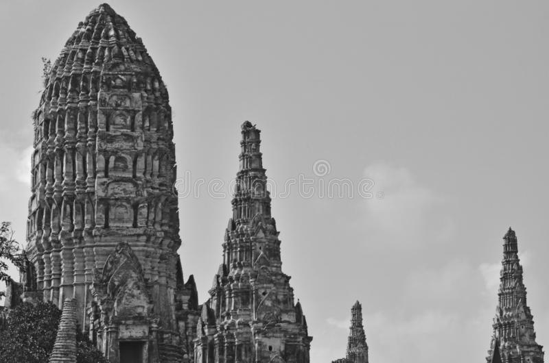 Black and white image of old pagoda top stock photos