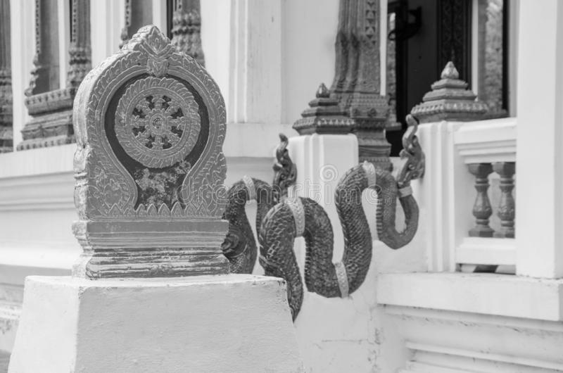 Old stone boundary marker in thai temple royalty free stock image