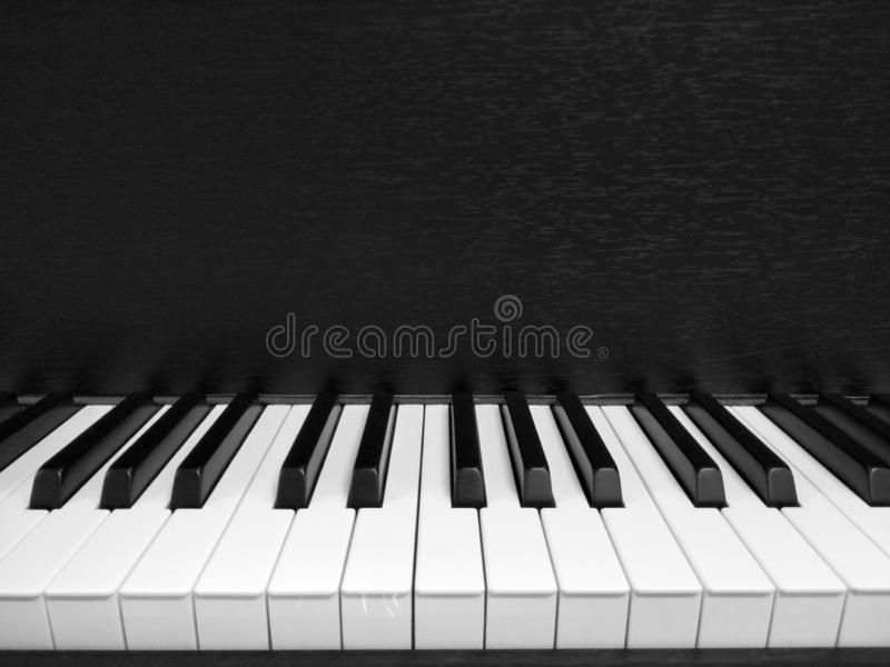 Black and white image of piano press key. Black and white image of piano press, music, musical, jazz, classic, blues, melody stock image