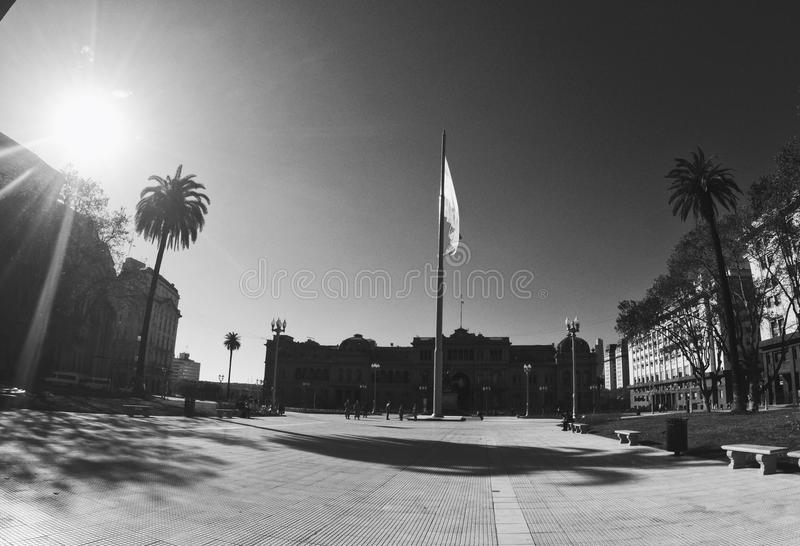 Plaza de Mayo. Black and White image of Plaza de Mayo in Buenos Aires, Argentina royalty free stock image