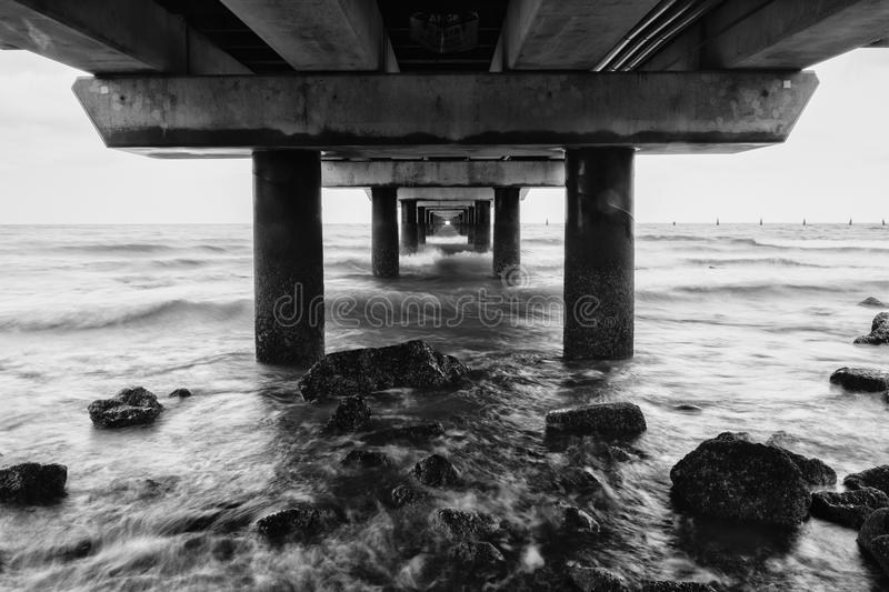 Black and white image of Shorncliffe Pier. In Queensland, Australia royalty free stock photos