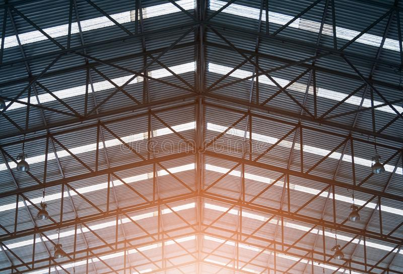 Black and white image of Steel structure roof frame royalty free stock photos