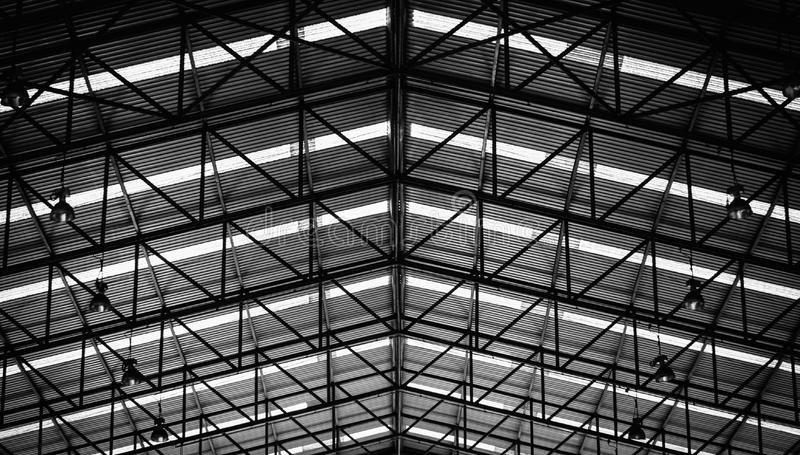 Black and white image of Steel structure roof frame stock photography