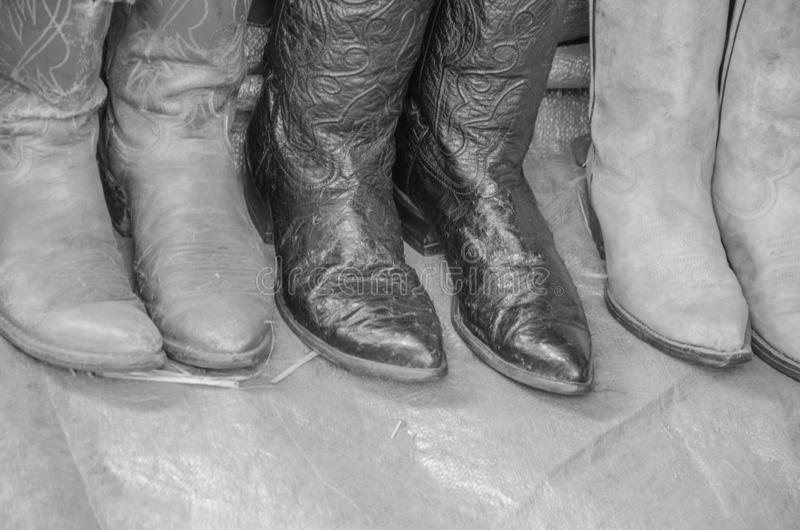 Black and white image of top boots royalty free stock photography