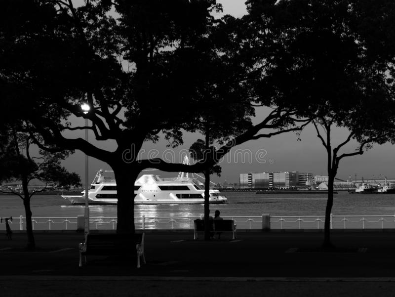 Black and white image of Yamashita Park at dusk. Silhouette of trees and people sitting on a bench enjoying the night view of the. Yokohama Bay, Japan royalty free stock images