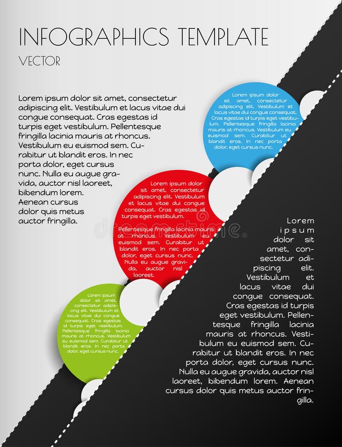 Black and white infographics. With color circles stock illustration