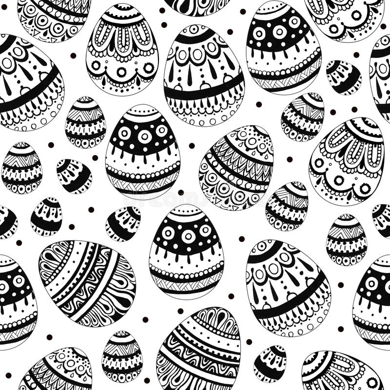 Black and white ink Easter eggs stock photo