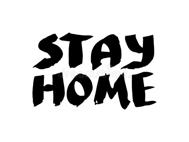 Black and white insulated hand lettering poster stencil. To stay at home. Vector stock illustration