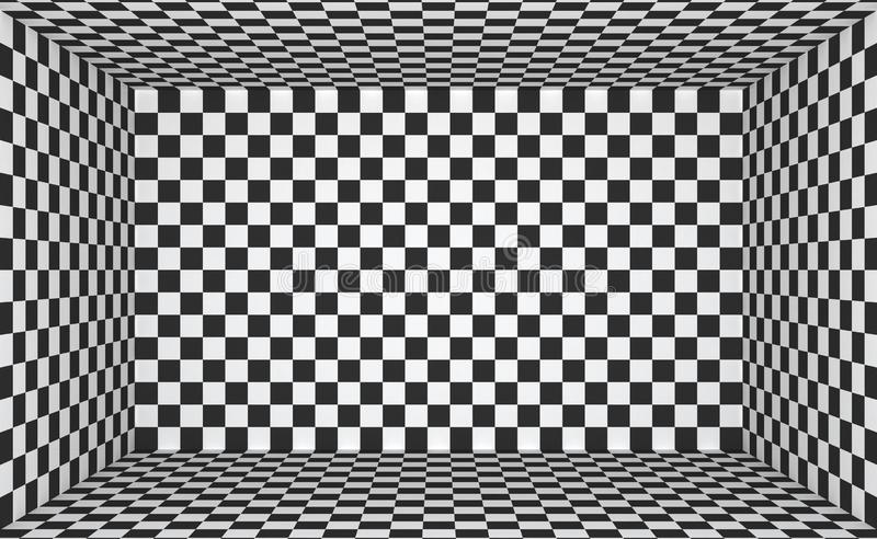 Black and white  interior with a checkerboard pattern. Empty blank room with copy space. 3D rendering.  vector illustration