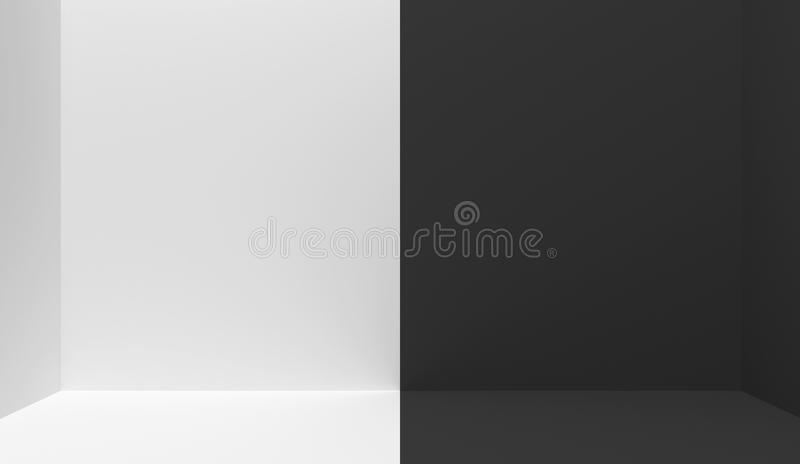 Black and white  interior divided in half into two parts in the middle. Empty blank room with copy space.  One half is white, the. Other half is black. 3D stock illustration