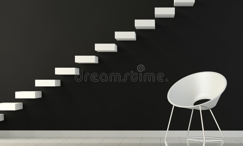 Download Black And White Interior Wall With Chair And Stair Royalty Free Stock Photo - Image: 7580035
