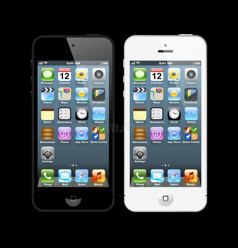 Black and white iPhones 5 stock illustration