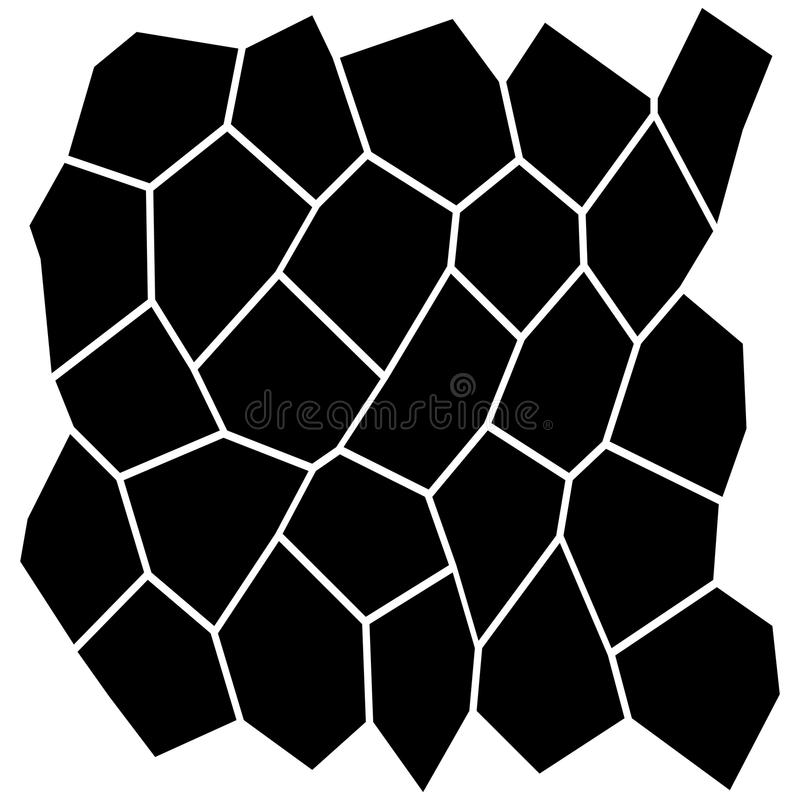 Black and White Irregular Grid. Modular Structure Mesh Pattern, Abstract Monochrome Geometric Polygon Texture, Photo Mosaic Template, Photo Collage Background vector illustration