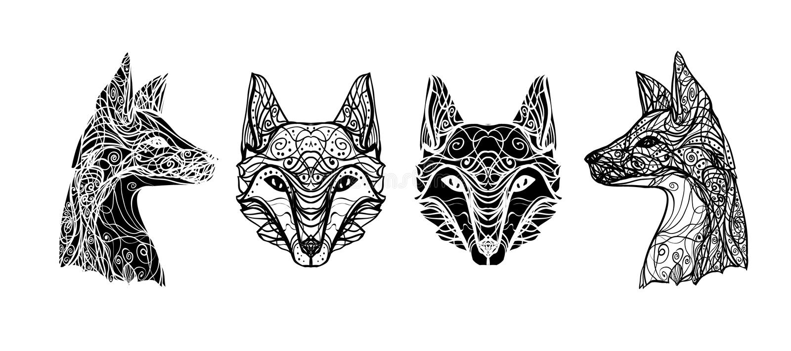 Abstract Image Of A Wolf For Tattoos And Printing On Paper Stock Vector Illustration Of Fabric Curly 112729523