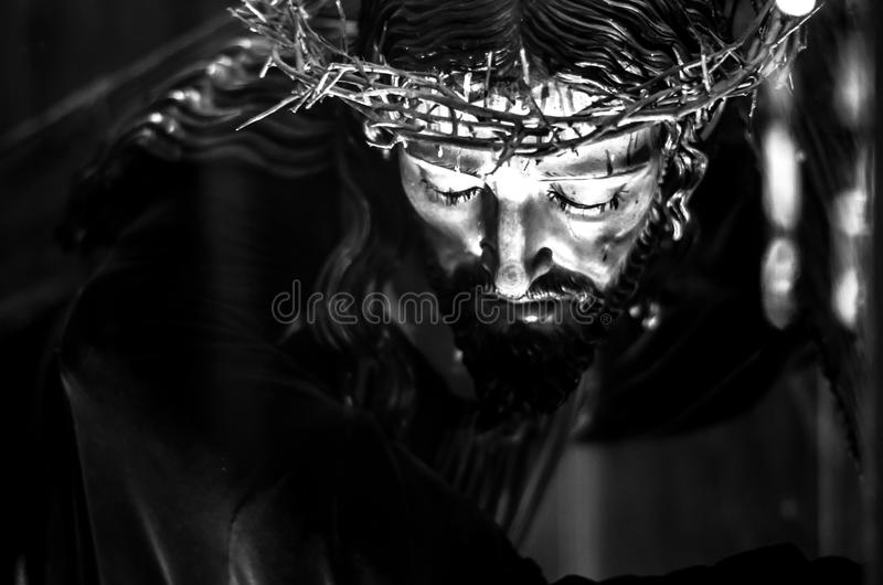 Black and white Jesus Christ. Black and white shot of a representation of Jesus Christ stock photography
