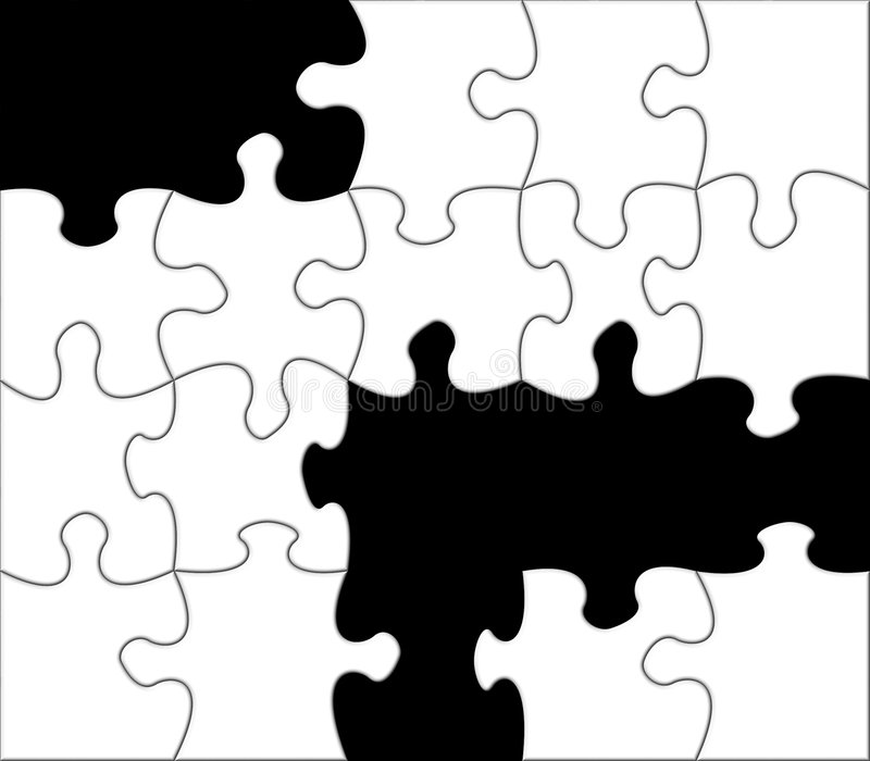 Download Black and white jigsaw stock illustration. Image of question - 3749249