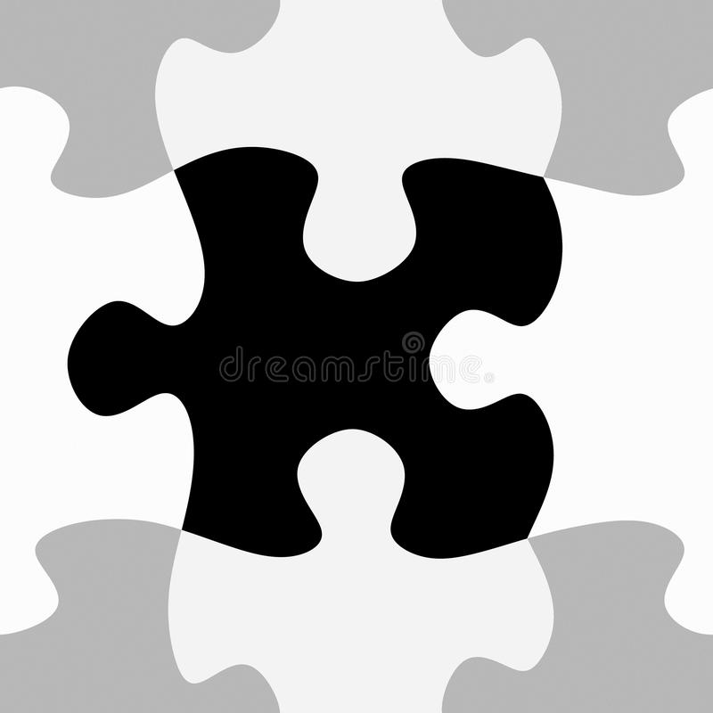 Black and white jigsaw pattern. Seamless texture of black, grey and white puzzle pieces stock illustration