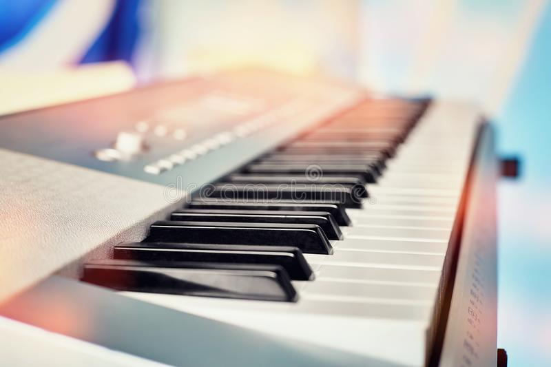 Electronic piano column close-up royalty free stock photo