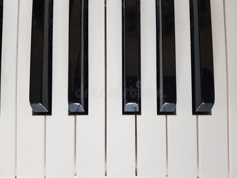 Black and white keys on a piano. Close-up of black and white keys on a piano keyboard royalty free stock photo