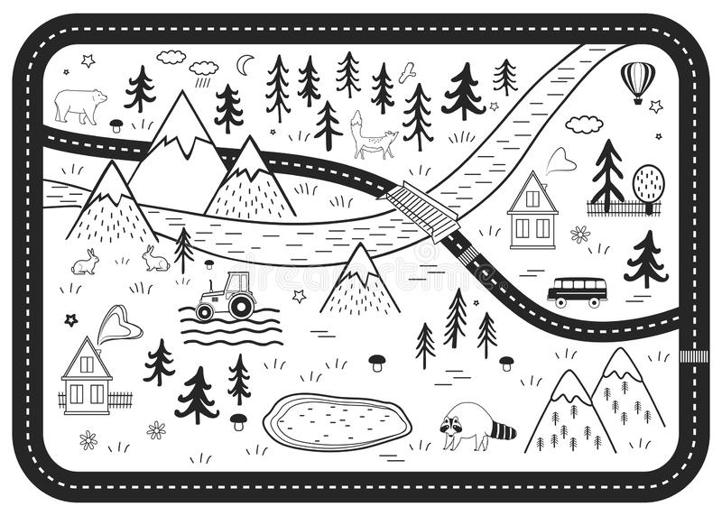 Black and White Kids Road Play Mat. Vector River, Mountains and Woods Adventure Map with Houses, Wood, Field, and. Animals. Scandinavian Style Art Nursery royalty free illustration