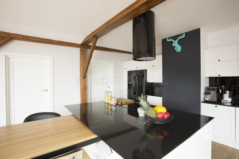 Black and white kitchen interior stock photography