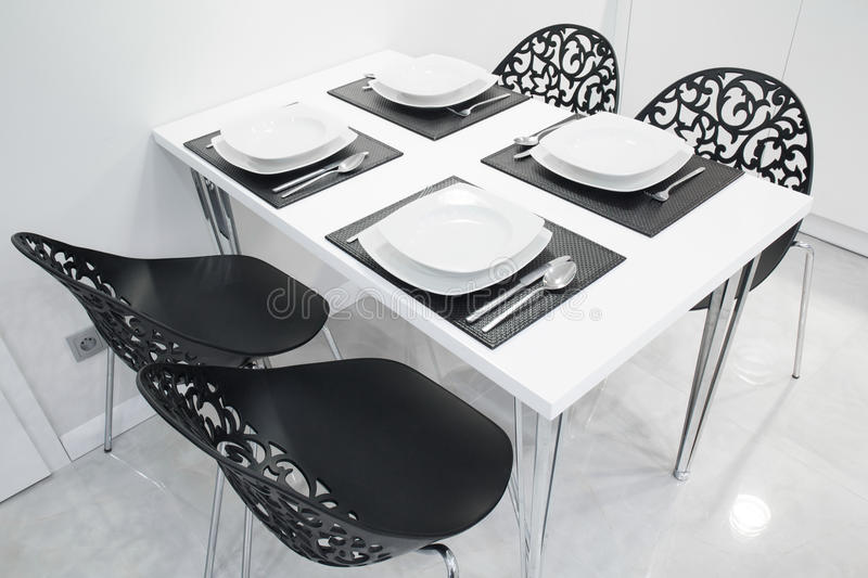 Black and white kitchen stock images