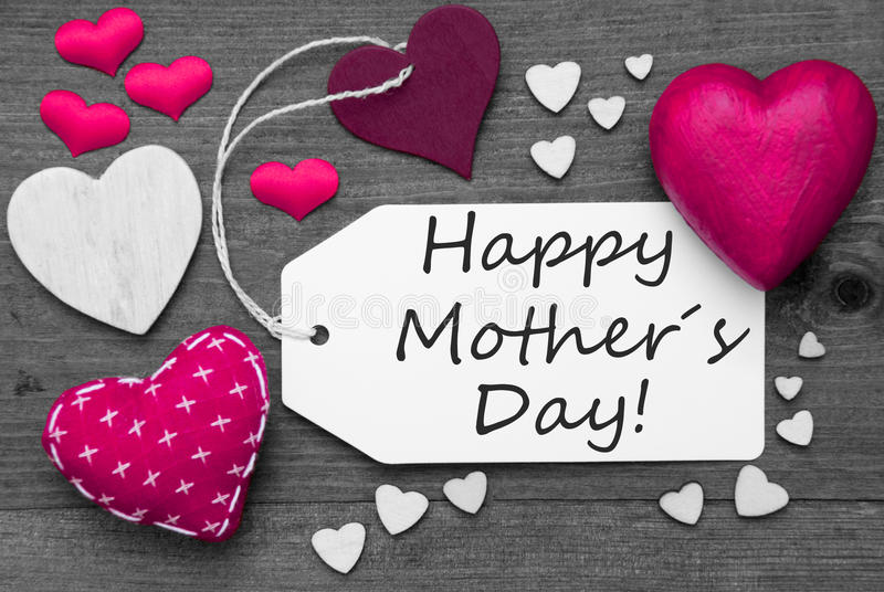 Black And White Label, Pink Hearts, Text Happy Mothers Day royalty free stock images