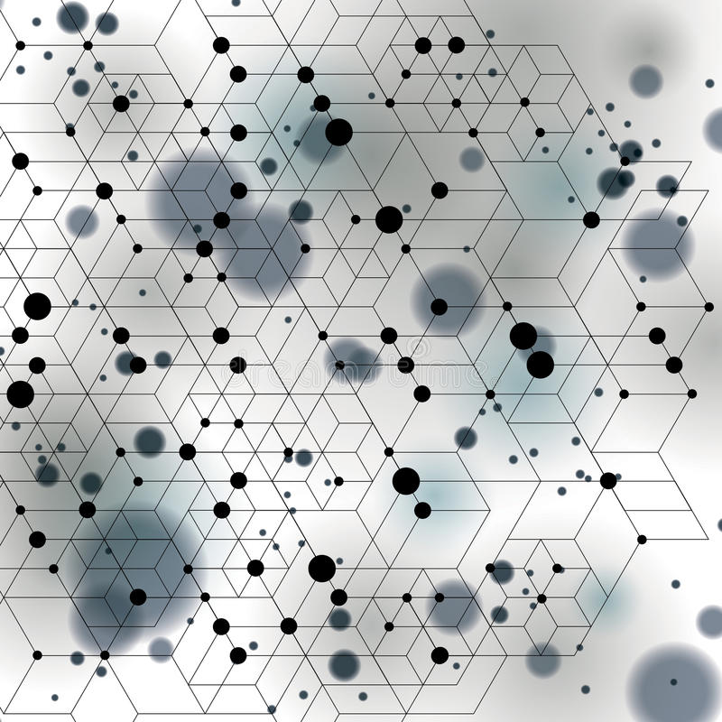 Black and white lace design backdrop, abstract futuristic stylish blur background with smudge spots and polygonal transparent. Figures. 3d engineering mesh vector illustration