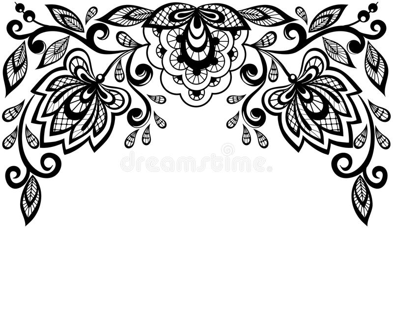 Black and white lace flowers and leaves isolated on white stock photos