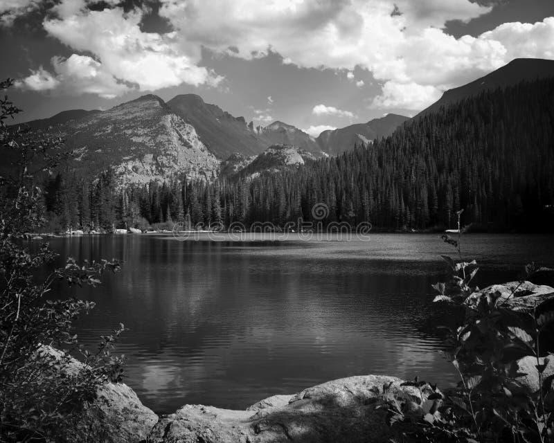 Black and white lake royalty free stock photos