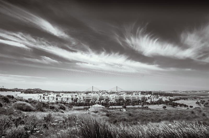 Black and white landscape of Costa Esuri, Ayamonte urbanisation stock image