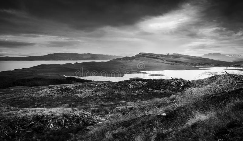 Download black and white landscape isle of skye stock image image of europe