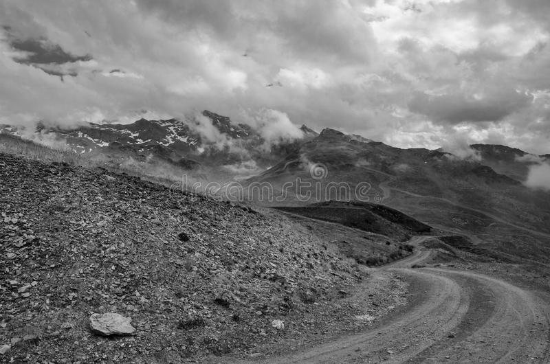Black and White Landscape of Mountains and Clouds royalty free stock image