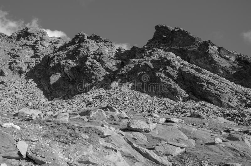 Black and White Landscape with Rocky Mountain royalty free stock photos