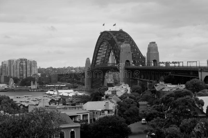 Black and white landscape view of Sydney Harbour Bridge. In Sydney New South Wales, Australia royalty free stock image