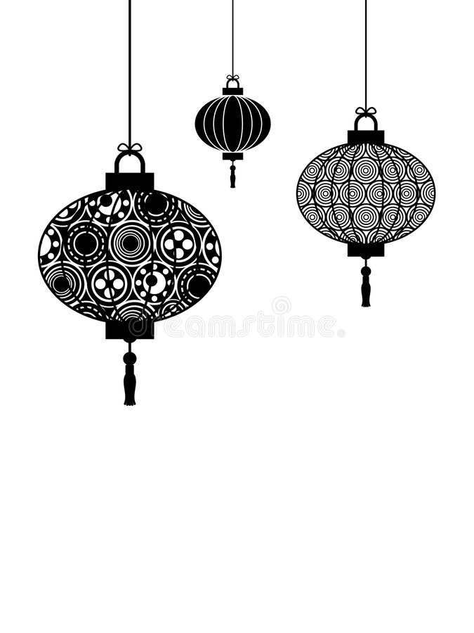 Download Black and white lanterns stock vector. Image of paper - 7023434