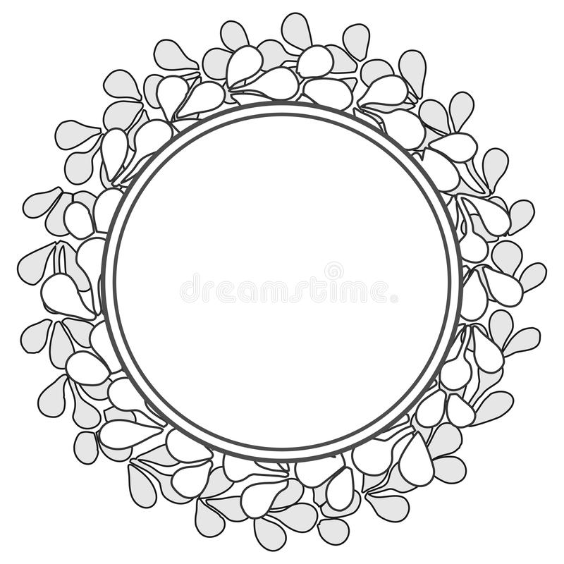 Black and white wreath vector frame isolated on white background vector illustration