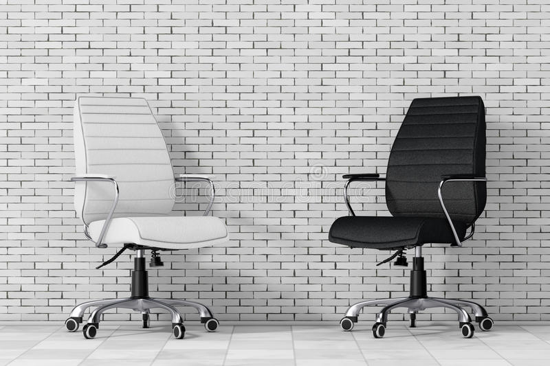 black and white leather boss office chairs 3d rendering stock