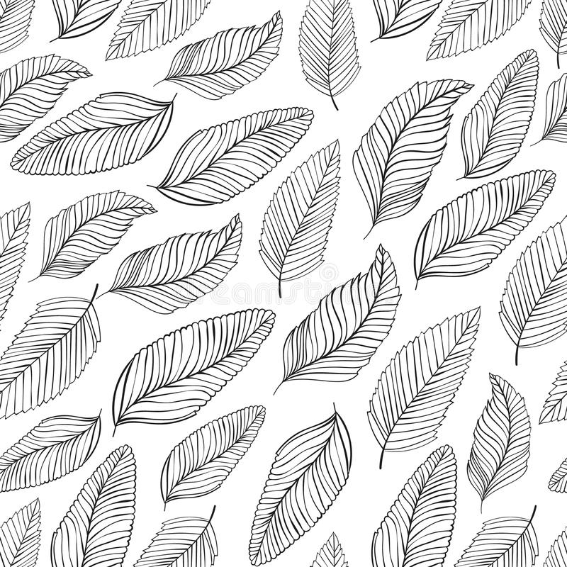 Black and white leaves pattern. Seamless vector illustration