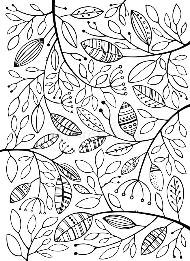 Black and white leaves. Vector Hand Drawn. Black and white leaves. Background stock illustration